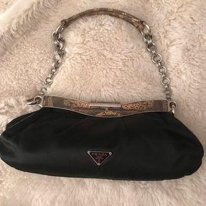 Prada black evening bag alligator embossed
